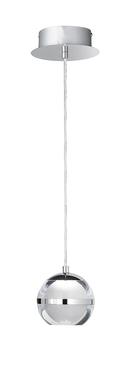 WOFI Pendelleuchte, 1-flammig Fulton 1 x LED   6 W, 12 x 150 x 12 x Abhängung 150 cm, 3000 k, 500 lm, Energieeffizenzklasse A+, chrom 6740.01.01.0000