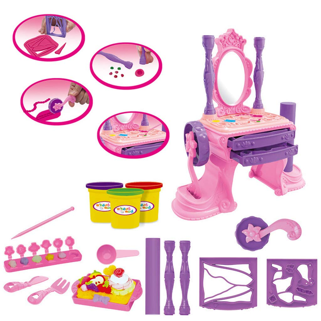 NszzJixo9 Girls Make Up Dressing Table Set , Kids Vanity Table,Glamorous Princess Dressing Table with Stool, Mirror, Hair Dryer,Best Gift for Girls by NszzJixo9 (Image #3)