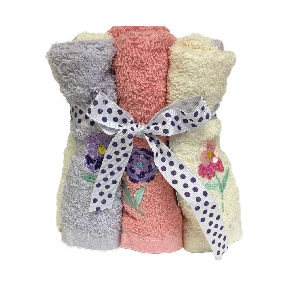 Bath Solutions Inc Decorative Fingertip Hand Towels washcloths Set of 6 with Flowers Embroidery