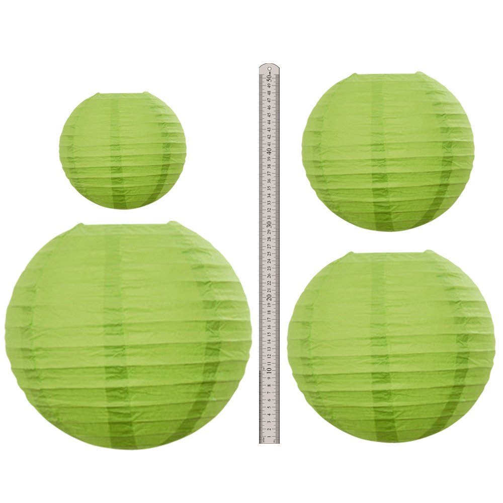 Neo LOONS Lime Green Round Chinese/Japanese Paper Lanterns Metal Framed Hanging Lanterns with Warm White LED lights-- Assorted Sizes--Birthday/Wedding/Party Supplies Favors Hanging Decoration by NEO LOONS (Image #3)