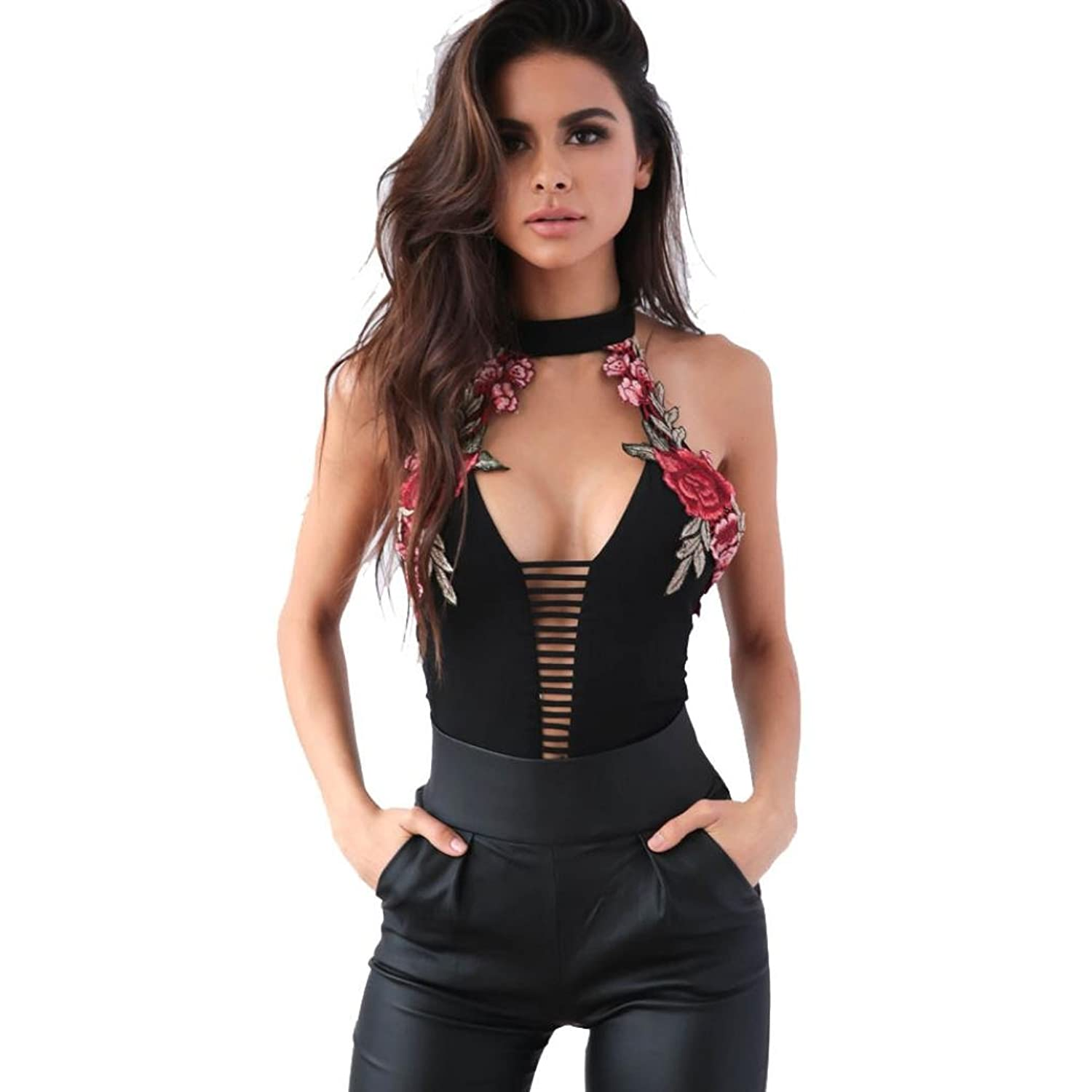 Wensltd Clearance! Women Appliqued Clubwear Halter Playsuit Bodycon Party Jumpsuit