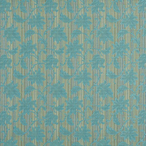 A0040G Turquoise and Green Embroidered Floral Stripe Upholstery Jacquard Fabric by The Yard