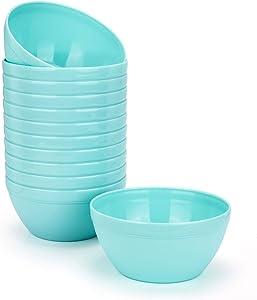 Unbreakable 30-ounce Plastic Bowls Salad Bowls Cereal Bowls - Dishwasher safe, BPA Free (12, Teal)