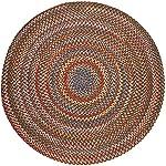 Super Area Rugs, Gemstone Textured Braided Indoor / Outdoor Rug Durable Red Kitchen Carpet, 8 Round