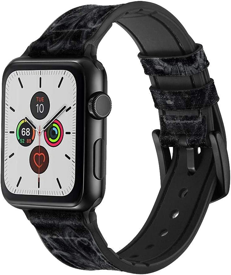 CA0841 Dark Gothic Lion Leather & Silicone Smart Watch Band Strap for Apple Watch iWatch Size 42mm/44mm