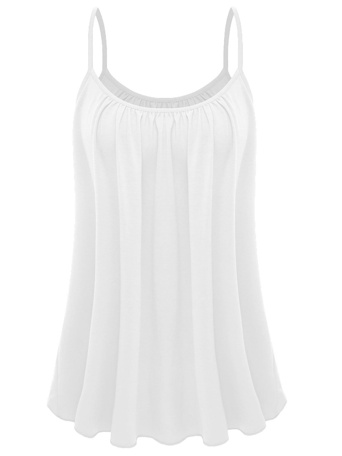 7th Element Womens Plus Size Cami Basic Camisole Tank Top (White,XL)