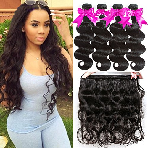 Flady Brazilian Virgin Hair Body Wave 7A Brazilian Hair Weaves 4 Bundles Virgin Human Hair Weaving Natural Black Color 95-100g/bundle (12 14 16 18inches)