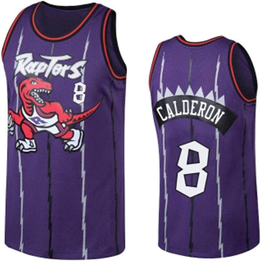 8 Jos/é Calder/ón Toronto Raptors Camiseta Sin Mangas Neutra De Baloncesto Superior De Malla Bordada Alero Jersey S-XXL Color : Purple, Size : XXL LDFN Jersey Baloncesto Baloncesto Jersey