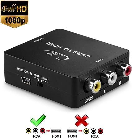 RCA a HDMI, cingk Mini AV compuesto CVBS a HDMI Video Converter adaptador apoyo 720/1080P con cable de carga USB para PC portátil Xbox PS4 PS3 TV STB VHS VCR cámara DVD: