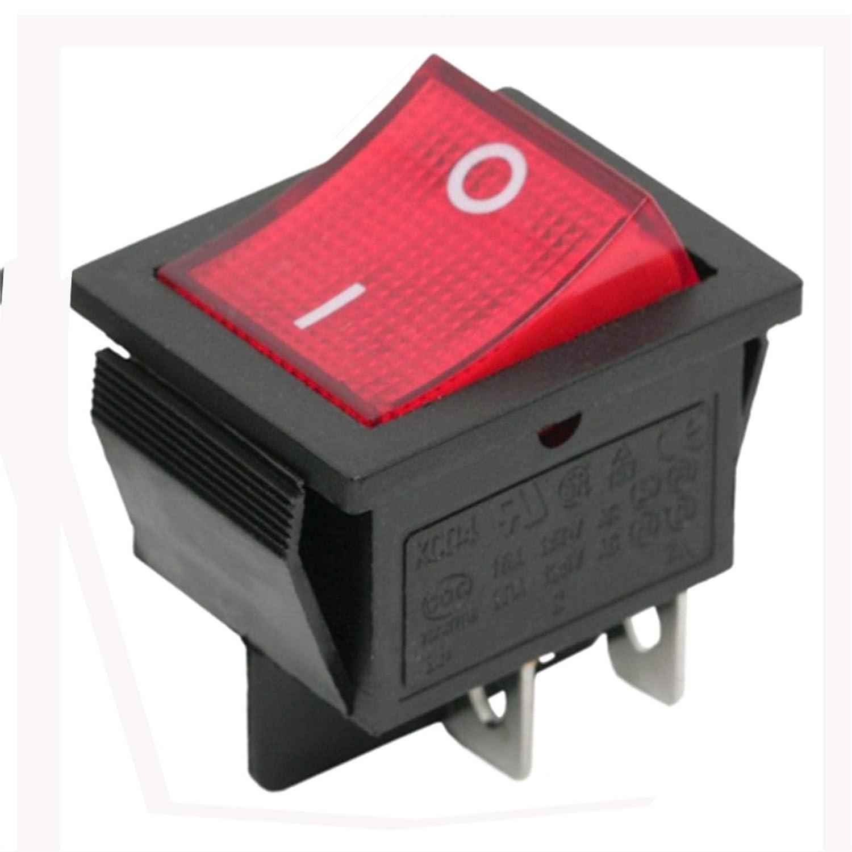 Beleuchtet rot Beleuchtung DPST Momentary Kippschalter ON-OFF-Snap in 22 x 30 mm 4pol Unbranded/Generic