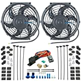 "American Volt Dual 10"" Inch Electric Radiator Cooling Fans & 3/8"" Npt Probe Fan Thermostat Kit"