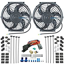 """American Volt Dual 10"""" Inch Electric Radiator Cooling Fans & 3/8"""" Npt Probe Fan Thermostat Kit"""