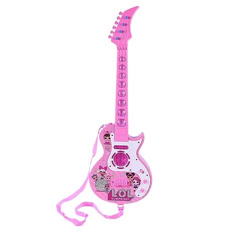 MRKE Guitarra Electrica Niños 53cm 4 Cuerdas Rock Juguete de Instrumentos Musicales Guitarra Regalo con Luz