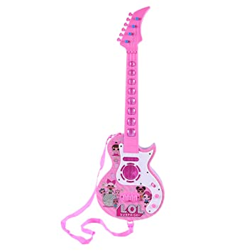 Mecotech Guitarra Electrica Niño, 4 Cuerdas Guitarra Juguete Eléctrica con Luces LED de Color y