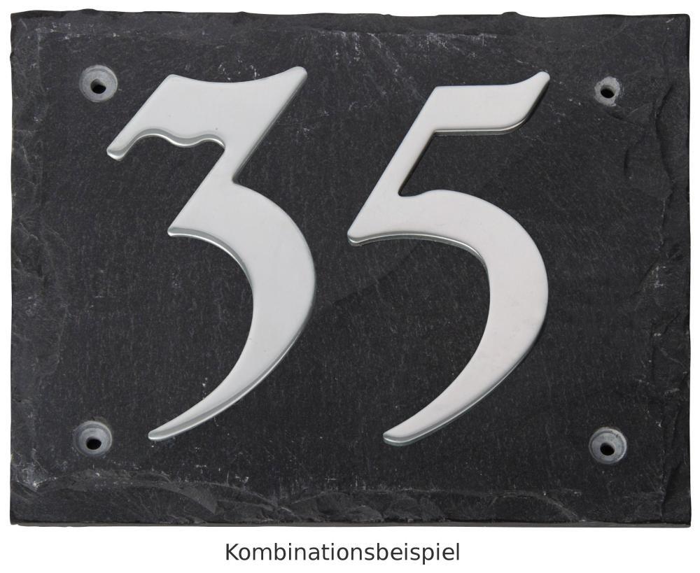 Esschert Design Set: Hausnummer 24 aus Edelstahl auf Schieferplatte (18 cm x 15 cm), Schriftbild Kreide Esschert Design Deutschland