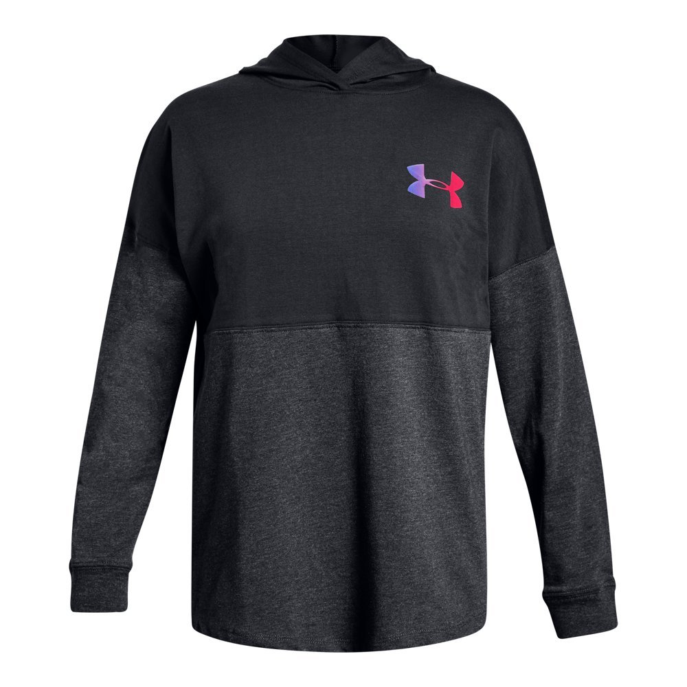 Under Armour Girls' Finale Hoodie, Black (001)/Penta Pink, Youth Small by Under Armour