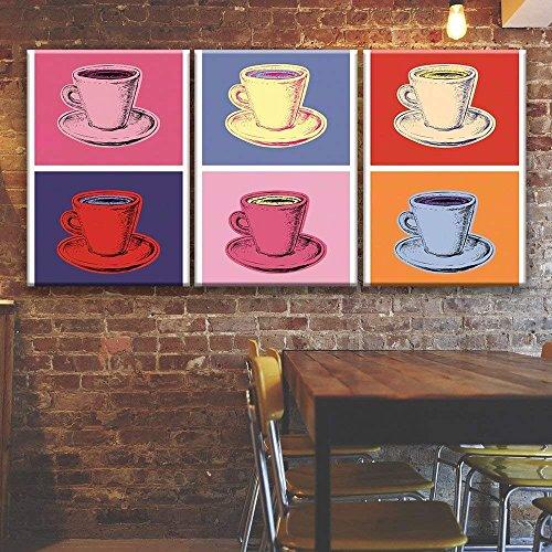 3 Panel Pop Art Style Multiple Colors Coffe Cups x 3 Panels
