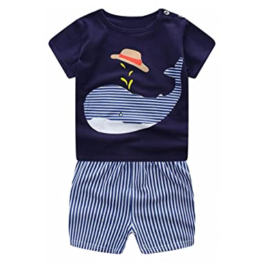 Baby unisex Kleidung Cartoon Wal Pinguin Kurzarm Tops Shirt+Pants Outfits