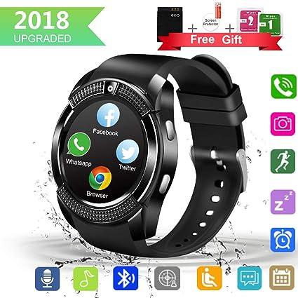 Larspace Smartwatch, Impermeable Reloj Inteligente Redondo con Sim Tarjeta Camara Whatsapp