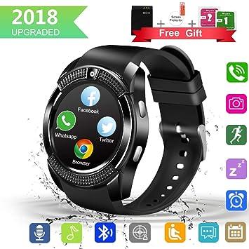 Larspace Smartwatch, Impermeable Reloj Inteligente Redondo con Sim ...