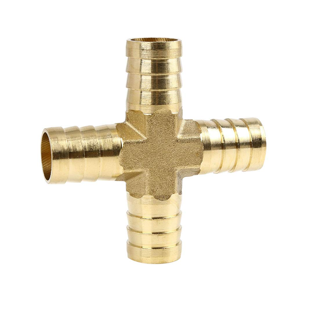 X AUTOHAUX 10mm Brass Hose Barb Cross Fitting 4 Ways Joiner for Air Water Oil
