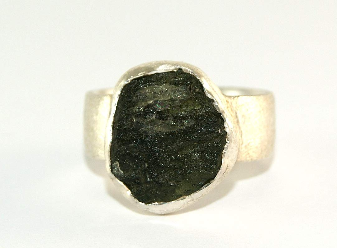 Moldavite Ring - Raw Rough - Brushed Sterling Silver - R1808