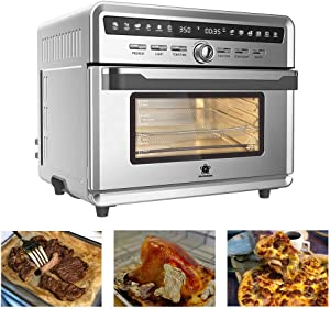 SAFER US-DESIGN 26.4qt Air Fryer Oven, 10 in 1 Multi-function 360° Air Circulation Toaster Oven with Free Oven Gloves 12 Hours Timing LED Display Temperature Control Glass Window 4 Layer Shelves 20 Types of Recipes