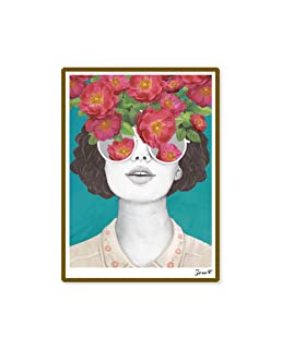 Lightclub Nordic Sunglasses Flower Girl Canvas Frameless Indoor Wall Painting Decoration Size 40cm x 50cm