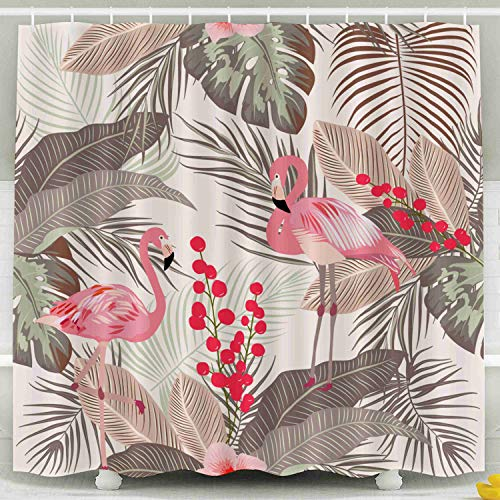Kid Shower Curtain,Shorping Shower Curtain Set with Hooks,78x72inches Tropical leaves and flamingo seamless pattern print for textile cloth wallpaper scrapbooking wrapping V Waterproof Decor -