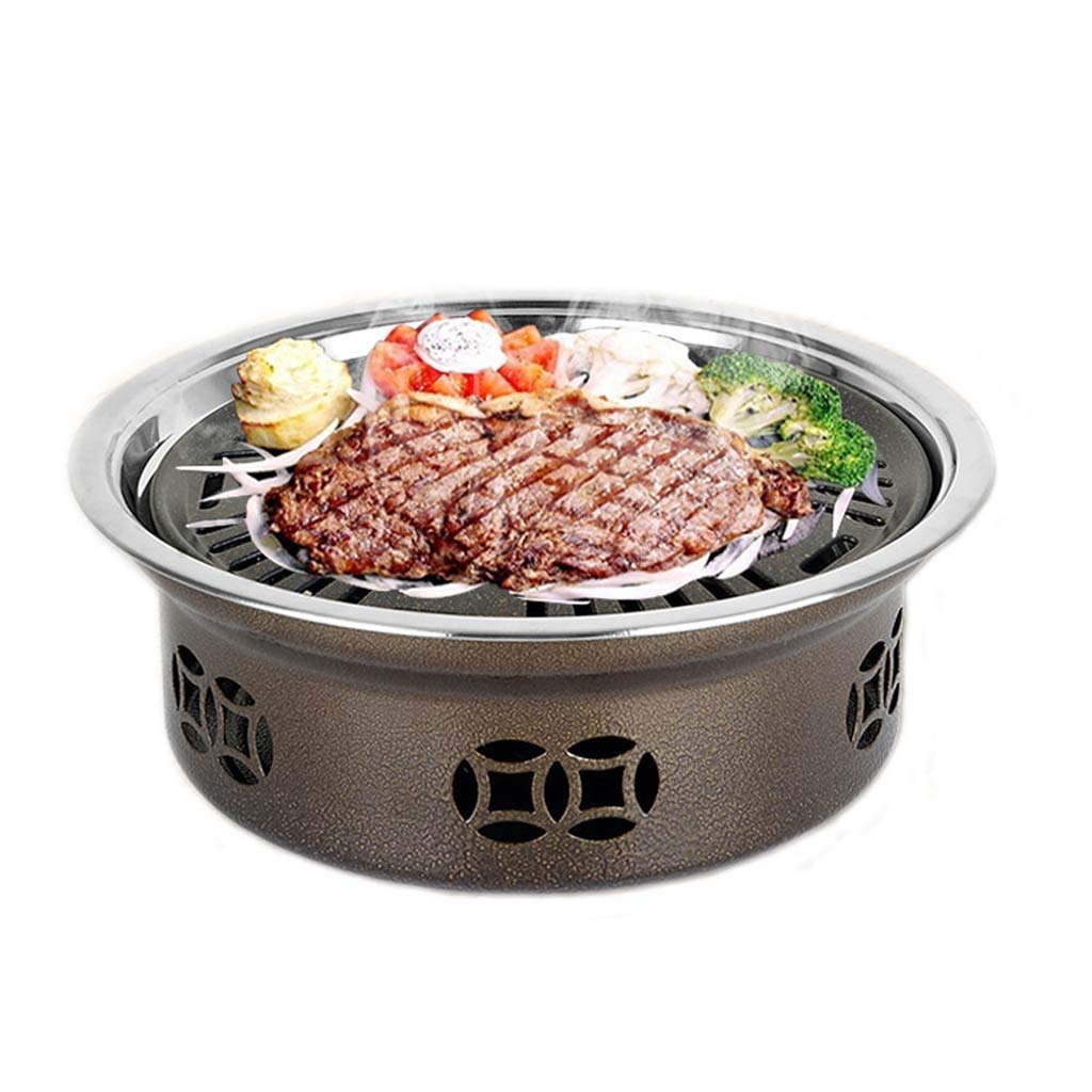 Makang Round smokeless BBQ Indoor Commercial Household Charcoal Stainless Steel Barbecue Outdoor Portable Grill by Makang
