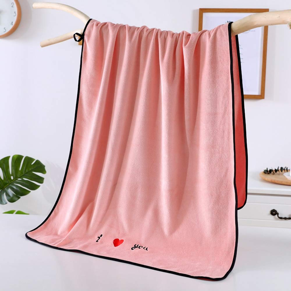 ZZW Dormitory Essentials, Microfiber Soft Thickening, Absorbent, Large Bath Towel, Easy to Wash, Suitable for Daily Use,Pink