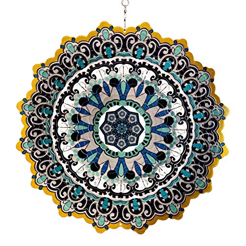 Exhart 3D Mandala Wind Spinner – Laser Cut Metal Mandala Art Hanging Décor w/Crystal Accent Beads- Blue Mandala Hanging Wind Spinner, 3D Metal Art, Indoor/Outdoor Decor, 12″