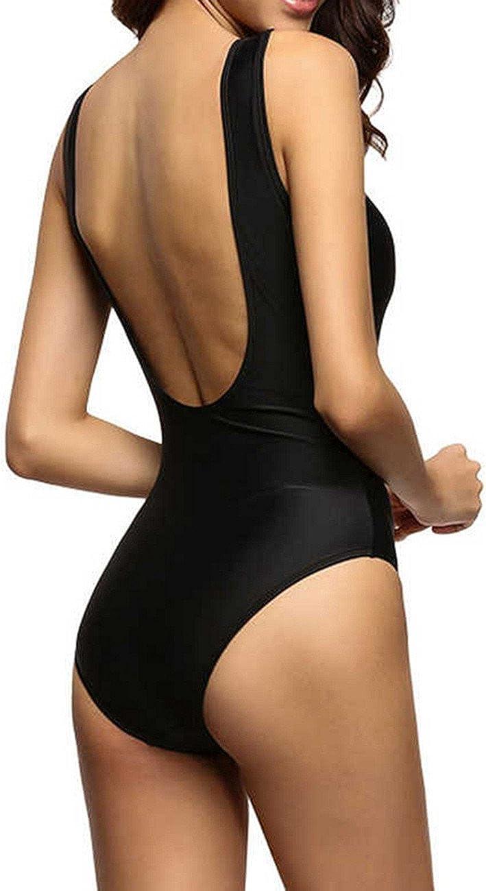 Bikini Mujer Push-up Acolchado Bra Trajes de ba/ño una Pieza V-Cuello Vendaje Color Solido 190