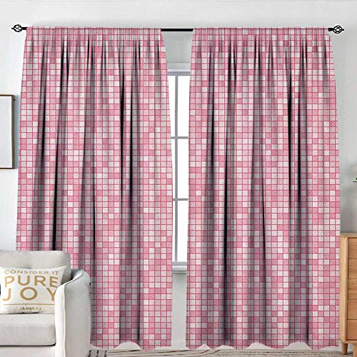 NUOMANAN Pattern Curtains Pink and White,Gingham Style Mosaic Tile in Pink Color Shades Modern Grid with Small Squares, Pale Pink,Rod Pocket Curtain Panels for Bedroom & Kitchen 54