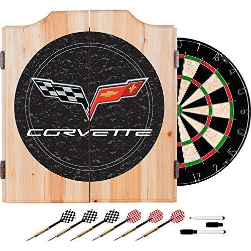 Corvette C6 Design Deluxe Wood Cabinet Complete Dart Set - Includes 3 Bonus 23gm Darts! by TMG