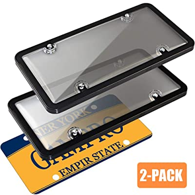 GAMPRO Car License Plates Covers and Frames Combo, 2-Pack Car License Plate Frame Holder Shield for All Standard US 6x12 inches License Plates, Screws Included (Smoked): Automotive