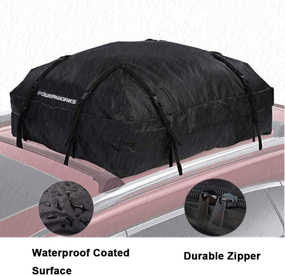 15 Cubic Feet POWERWORKS Waterproof Auto Car Rooftop Cargo Carrier Bag Compatible with All Cars with//Without Rack Invisible Zipper Black