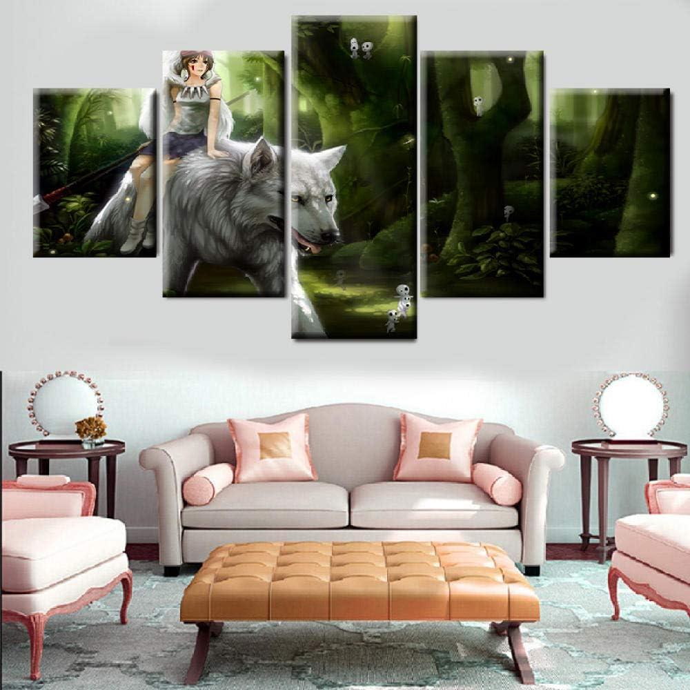 YJJPP 5 Panel Cartoon Prinzessin Mononoke reiten den wei/ßen Wolf Modern Home Wall Decor Leinwand Bildkunst HD-Druck Malerei Leinwand Kunst