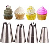 CFtrum 4 Pieces Stainless Steel Icing Piping Nozzles Piping Tips Pastry DIY Baking Tools Decoration Large Icing Nozzles for Baking, Cakes, Cup Cakes, Cookies and Pastry - Perfect Christmas DIY Tools