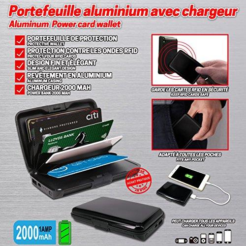 de Organizador Mah 1 en aluminio 2 cargador 2000 1 para de con soporte Rfid tarjetas del tarjeta Bank Negro Cartera Lock Power PHvqfxZ