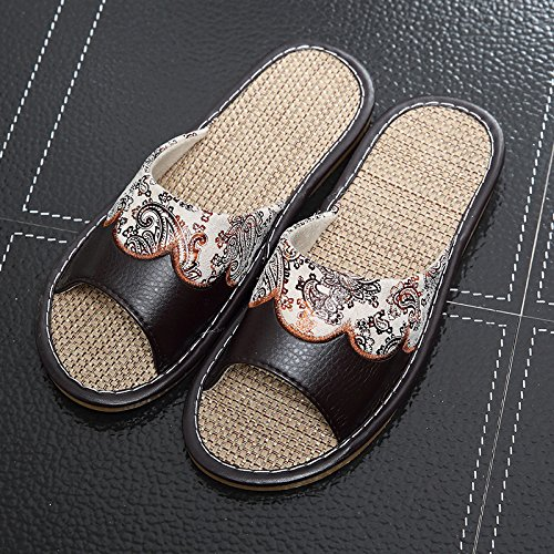 TELLW Summer Home Indoor Leather Slippers Linen Cool Slippers Thick Bottom Male Lady Non-Slip Living Room Shoes Men Black Brown Sas2jBIzLM