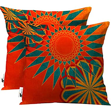 Boho Indoor/Outdoor Throw Pillow - Set of 2 - Orange Moroccan Patio Furniture Pillows - West Indies Morrocan | UBU Republic (16X16)