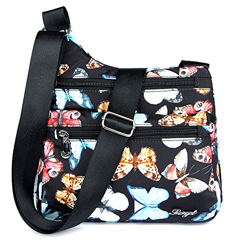STUOYE Nylon Multi-Pocket Crossbody Purse Bags for Women Travel Shoulder Bag - Top Butterfly Zip Handbag