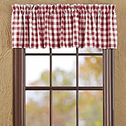Classic Country Farmhouse Kitchen Window Curtains - Buffalo Red Check Red Valance