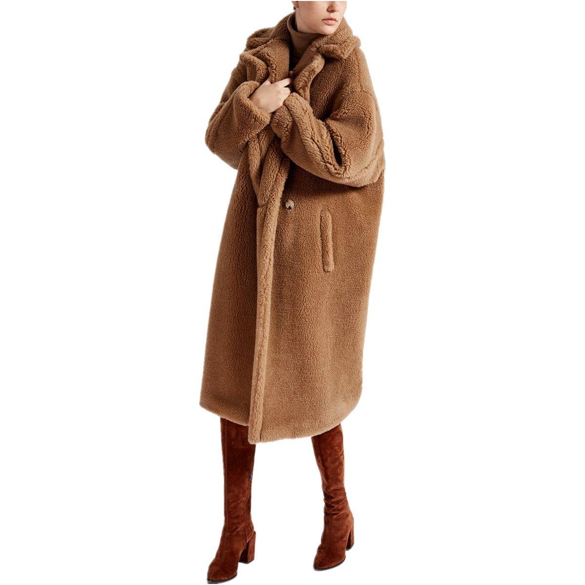 Carmonoudi Teddy Bear Icon Coat (Camel, Large)