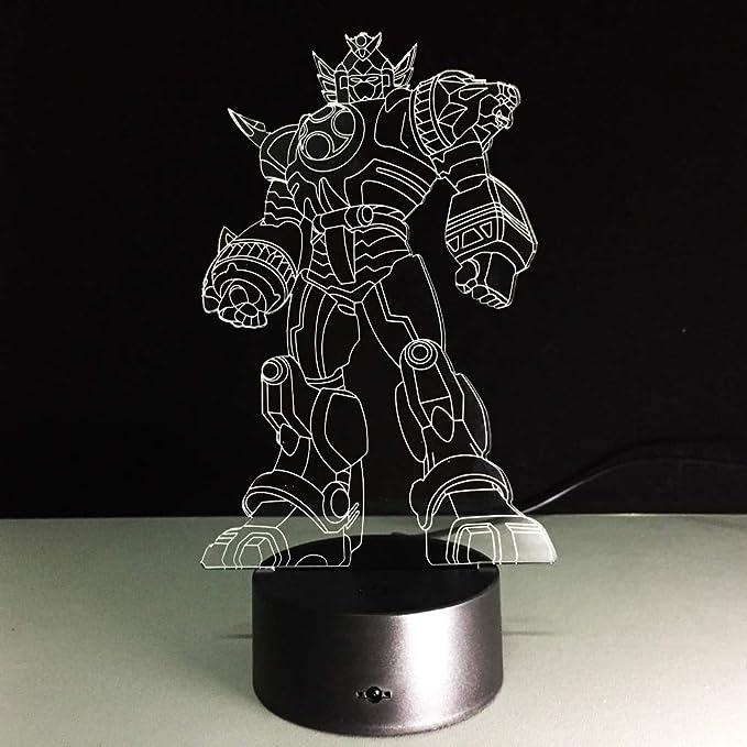 wanmeidp Transformación 3D Lámpara Niños Juguetes Figuras de acción Película Robot LED Luz de Noche 7 Colores Niños Regalos Nuevo Cool Anime Envío de la Gota: Amazon.es: Hogar