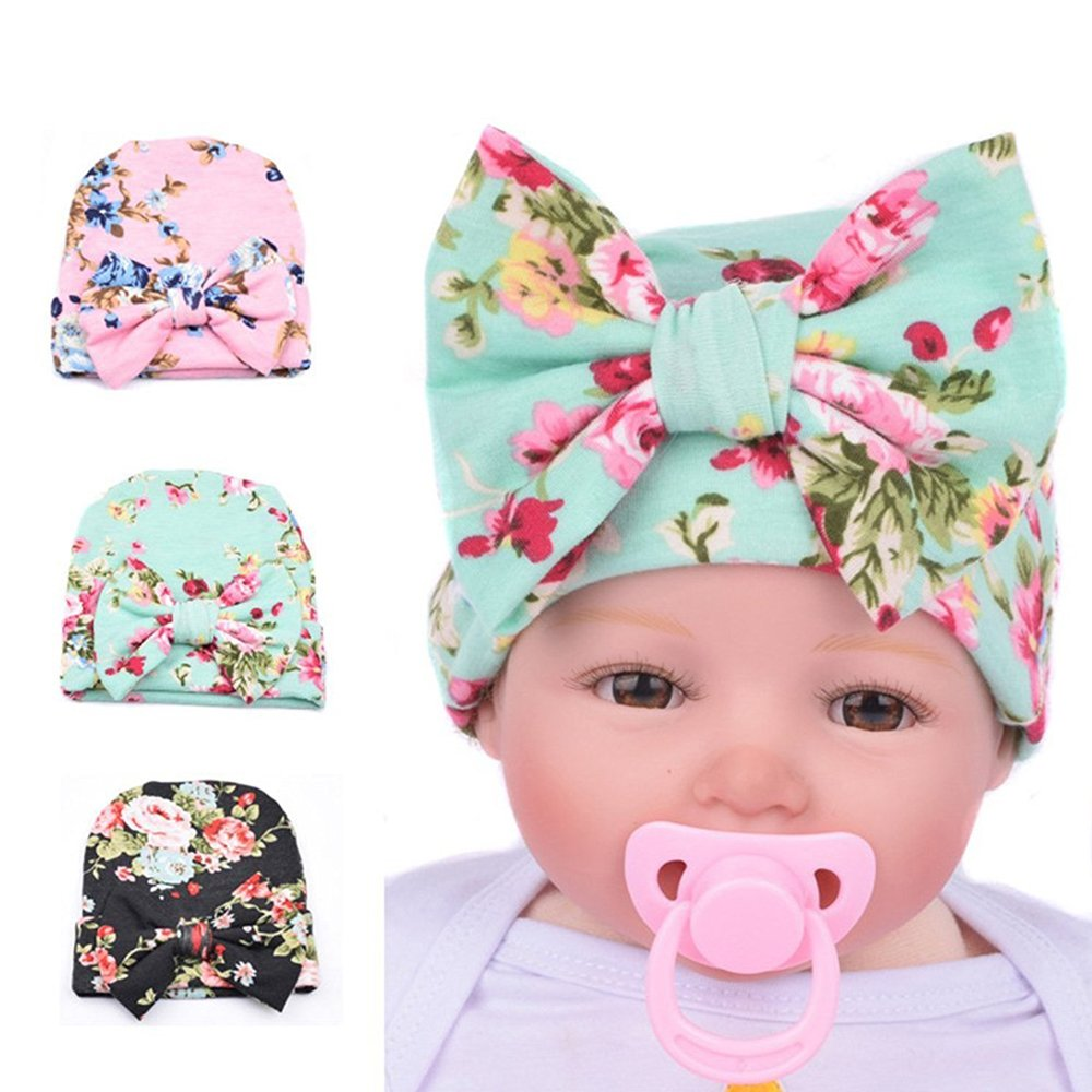 DRESHOW BQUBO Newborn Hospital Hat Infant Baby Hat Cap with Big Bow Nursery Beanie (Pack 3) HT0009-2A