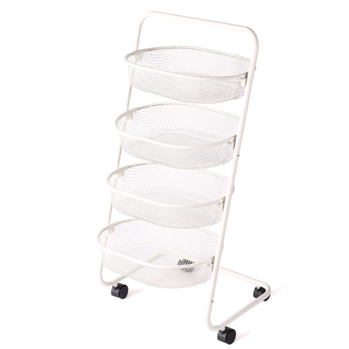 Buruis 4 Tier Rolling Basket, Mesh Wire Multi-function Storage Cart Shelves with Wheels for Home Kitchen Pantries, Detachable Metal Basket Rack for Food Fruit Vegetable Snacks, Easy Assembly White