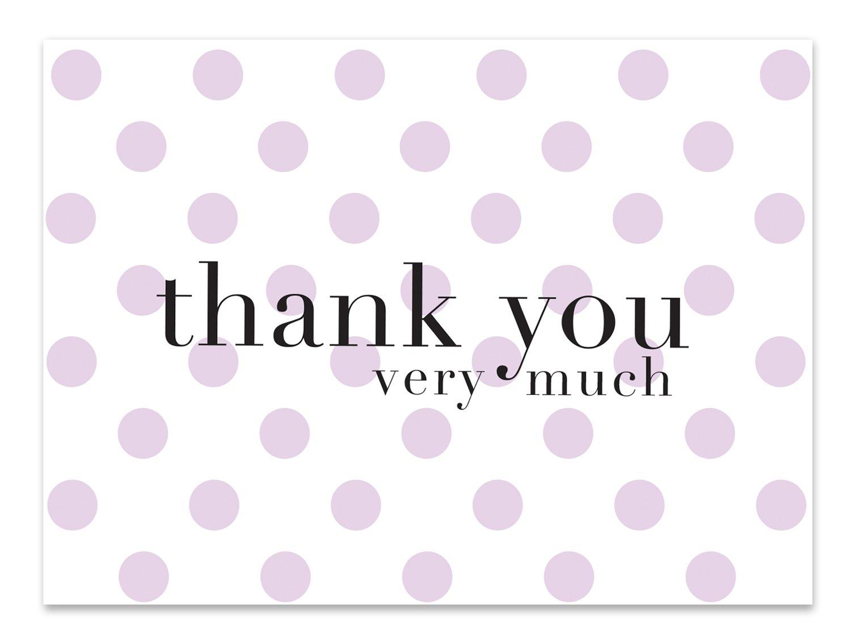 Amazon Com Purple Polka Dot Thank You Cards 36 Lavender Blank