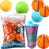 Bathtub Basketball Hoop - Attaches to Tub - Soft Squishy Balls (6 Standard / 6 Goofy Face) for your little NBA star to be! - 2.5 Inch Balls